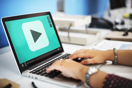 stream: Play Button Movie Clip Stream Media Concept