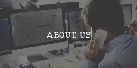 about: About us Information Profile Service Concept Stock Photo