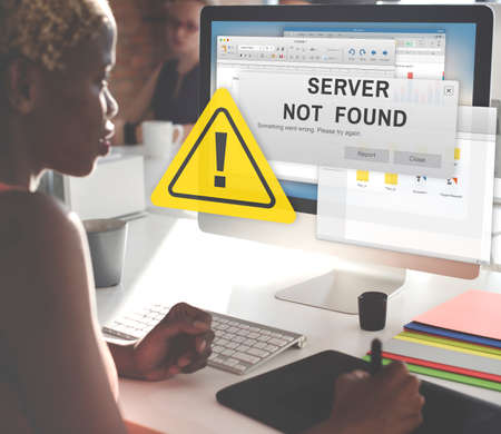 found: Server Not Found Error Inaccessible Concept Stock Photo