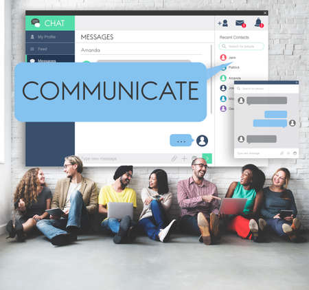 at communication: Communicate Communication Conversation Concept Stock Photo