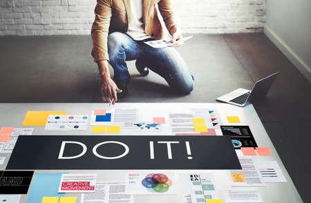 proactive: Do It Action Activity Proactive Plan Concept Stock Photo