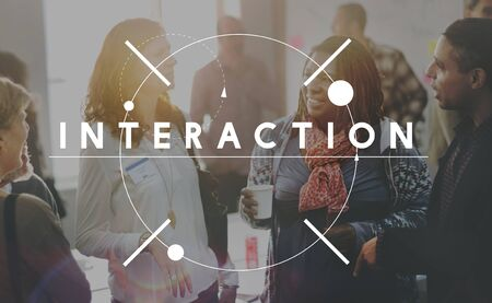 interact: Interaction Colleagues Communication Interact Concept