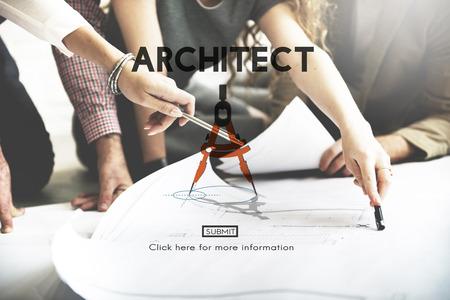 建築家建築設計インフラ建設コンセプト 写真素材