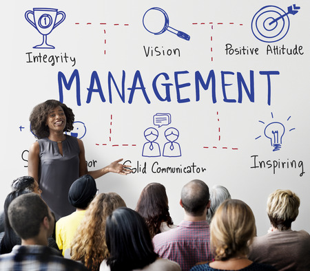 liderazgo empresarial: Tratar gestión Coaching de Negocios Mentor Concept