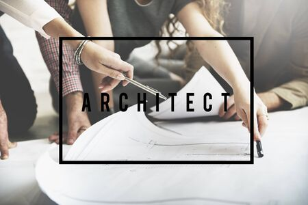 paper work: Architect Creative Occupation Engineer Professional Concept Stock Photo