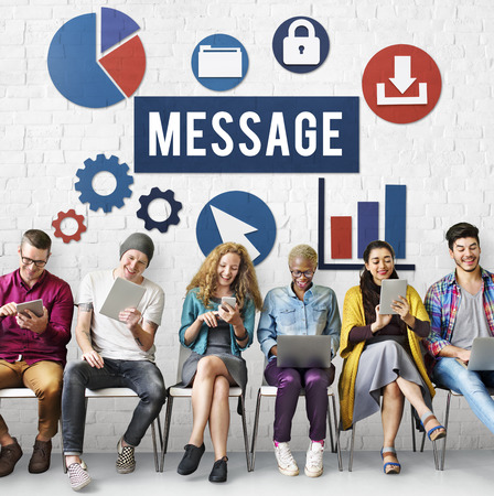 Message concept with a group of people Banco de Imagens
