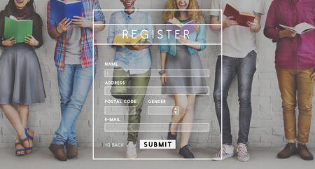 Register concepto de miembro de Datos Personales Sitio Web Foto de archivo