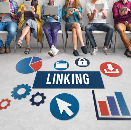 group network: Linking Connection Share Hyperlink Concept Stock Photo
