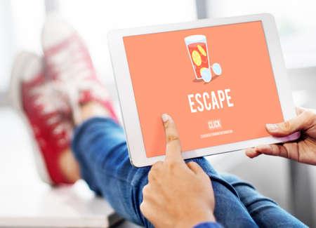 escape: Escape Freedom Exit Crisis Concept Stock Photo