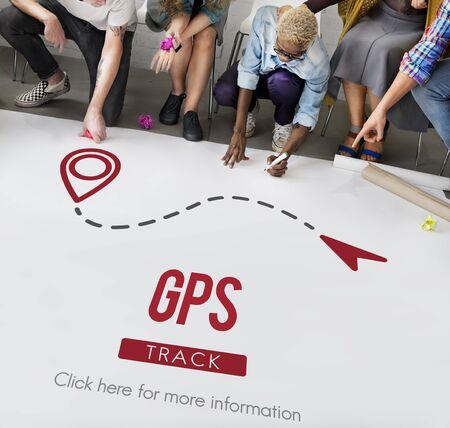 gente pensando: Ciudad de navegación GPS localizador Explora Concept Foto de archivo