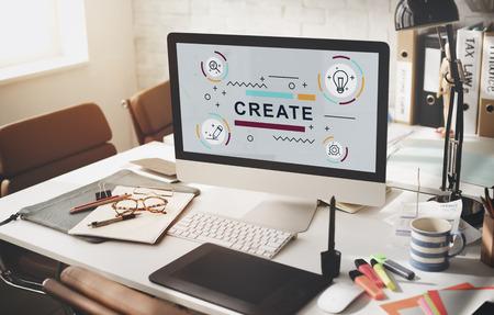 Ontwerp van creatieve verbeelding Ideeën Graphic Concept Stockfoto - 58619431