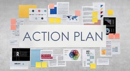 plan de accion: Acci�n Planificaci�n Plan de Estrategia Visi�n Concepto Aspiraciones Foto de archivo