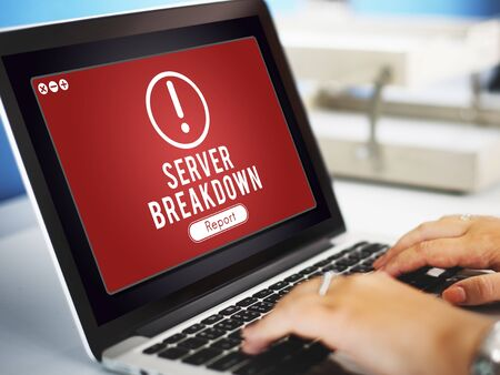 failed plan: Server Breakdown Network Problem Technology Software Concept Stock Photo