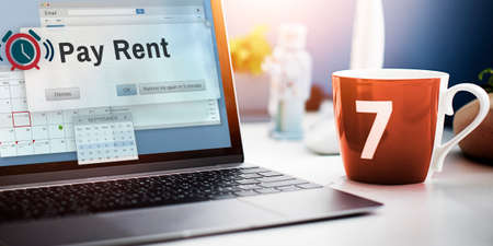 apartment for rent: Pay Rent Leasable Real Estate Renting Available Concept Stock Photo