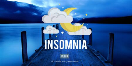insomniac: Sleep Apnea Insomnia Sleep Deprivations Disorders Sleepless Concept Stock Photo