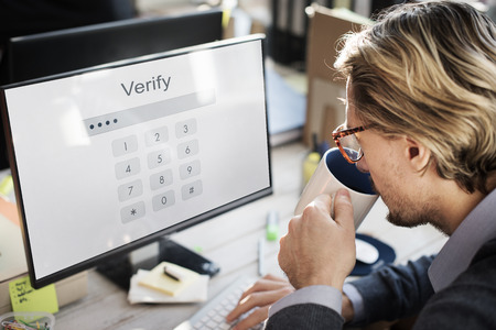verify: Log in Secured Access Verify Identity Password Concept Stock Photo