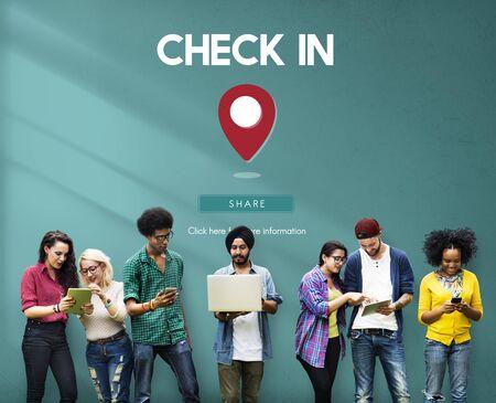 check in: Check In Location GPS Graphic Concept Stock Photo