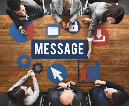 Brainstorming with message concept Imagens