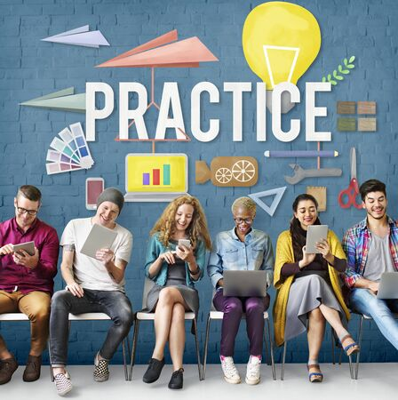 perform: Practice Method Observe Operation Perform Utilize Concept Stock Photo