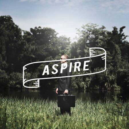 attache case: Aspiration Ambition Vision Goals Strategy Concept Stock Photo
