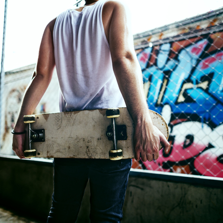 Skateboarding Practice Freestyle Extreme Sports Concept Imagens