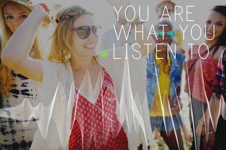 Ecoute écoute sonore chanson élégante Audio Concept Banque d'images