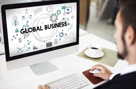 place of research: Global Business Corporate International Network Concept Stock Photo