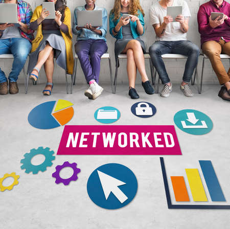 networked: Networked Networking Internet Connection Concept Stock Photo
