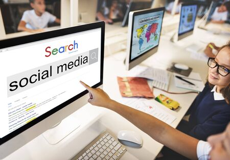 search engine optimization: Social Media Search Engine Optimization Software Concept Stock Photo