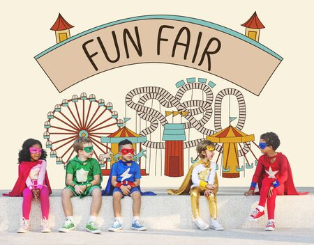 enjoyment: Fun Fair Amusement Enjoyment Happiness Joyful Concept