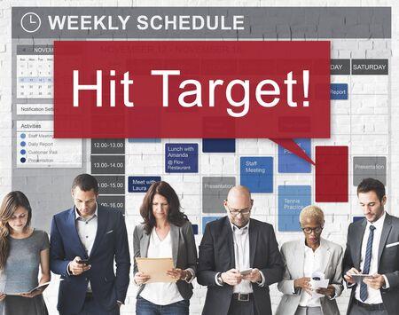 Hit target Obiettivo Scopo aspirazione Business Concept clienti Archivio Fotografico