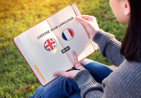 factions: Language Dictionary English French Concept Stock Photo