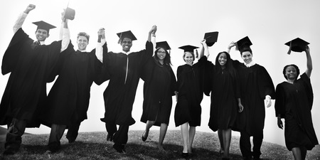 college education: Graduation Students Degree College Concept Stock Photo