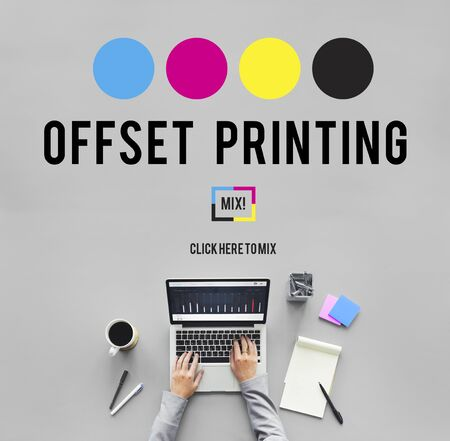 offset view: Printing Process Offset Ink Color Industry Media Concept