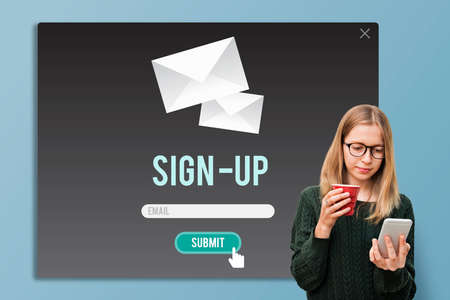 enroll: Sign-in Sign-up Application Apply Enroll Enter Concept Stock Photo