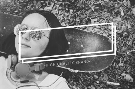 woman lying down: Brand Branding Logo Label Rectangle Concept