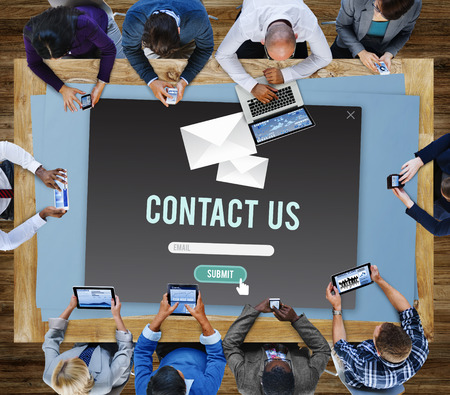 contact us: Contact Us Assistance Business Contact Help Concept Stock Photo