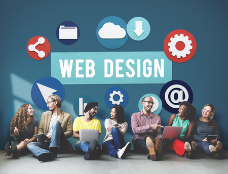People with web design icons