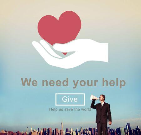 welfare: We Need Your Help Welfare Donation Concept Stock Photo
