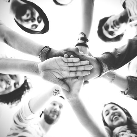 strength in unity: Hands Assemble Teamwork Friendship Togetherness Concept