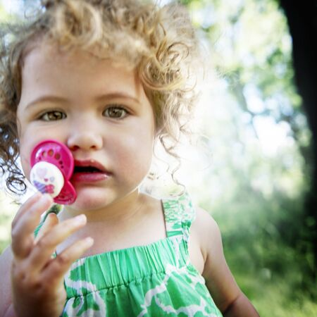offspring: Offspring Toddler Child Girl Blonde Cute Summer Concept Stock Photo