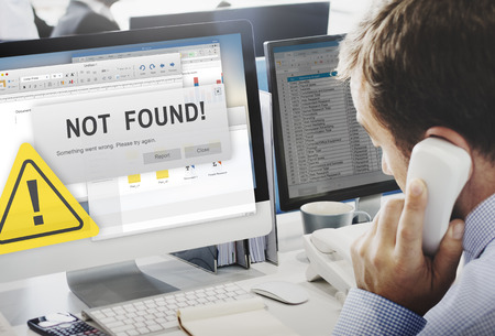 computer problem: Not Found 404 Error Failure Warning Problem Concept