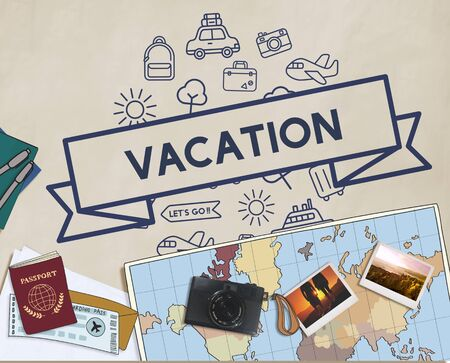 destination: Traveling Destination Journey Holiday Concept Stock Photo