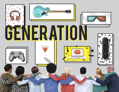 free time: Generation Entertainment Free Time Youth Concept Stock Photo