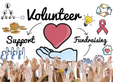 volunteering: Volunteer Voluntary Volunteering Aid Assisstant Concept Stock Photo