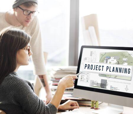 construction project: Project Planning Construction Design Blueprint Concept