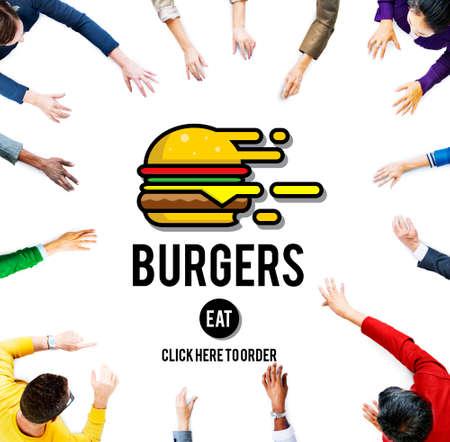 nourishment: Burgers Online Buying Junk Food Nourishment Concept