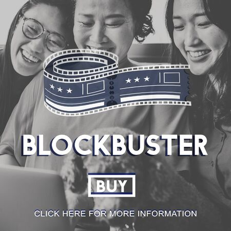 black family smiling: Movie Cinema Ticket Graphic Concept