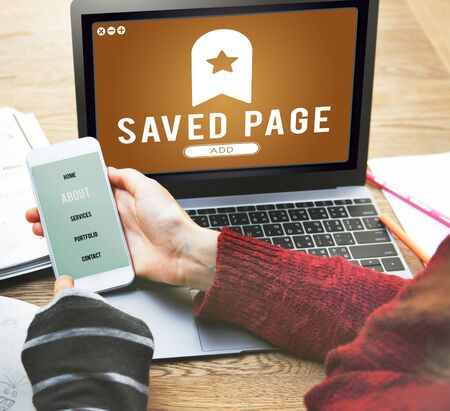 saved: Saved Page Bookmark Content Web Online Management Concept Stock Photo