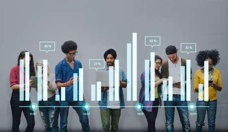 obra social: Analytics informe de estado de Análisis de la Información Gráfico Gráfico Concept Foto de archivo